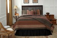 5PC BECKHAM COUNTRY PRIMITIVE RUST STRIPED QUILT SHAMS PILLOW CASES BED SET VHC