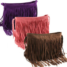 Fringe Tassel Faux Suede Shoulder Bag Messenger Cross Body