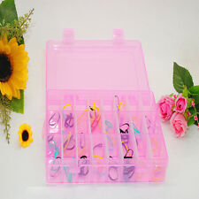 15/10/24 Slots Removable Jewelry Storage Box Case Craft Organizer Beads