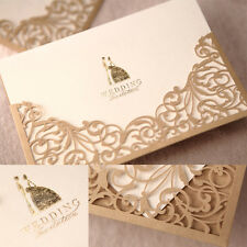 Gorgeous Lace Wedding Invitation Cards Gold Marriage Invitations Invites WI1025