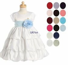 Infant Toddler Girls White Satin Bubble Formal Dress Flower Girl Christening