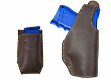 New Barsony Brown Leather OWB Holster + Mag Pouch for Glock Compact 9mm 40 45