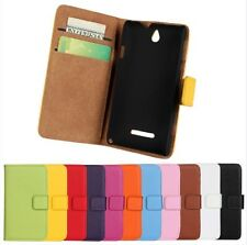 Genuine Leather Wallet Case Cover Protector For Sony Xperia E Dual C1605 C1505
