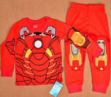 IRON MAN HEROS Boys Toddler Pajamas Kids PJ Cotton Pyjamas Costume T-shirt Set