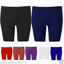 Girls Kids Ladies Womens Lycra Shiny Shorts Cycle Dance Gym Running Gymnastics