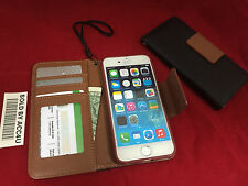 BLACK LEATHER FLIP COVER ID Credit Card Holder STAND WALLET CASE FOR IPHONE 6 6s