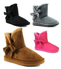 KALI WOMAN RIBBON ACCENT BOOTS FUR TRIMMED FAUX SUEDE FASHION WINTER ANKLE BOOTS