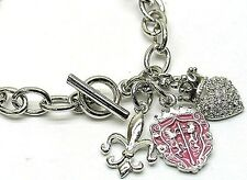 Silver Austrian Fleur De Lis Heart Crystal Crown & Shield Charm Bracelet  NEW