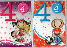 Boys/Girls Age 4/4th Birthday Card With Badge