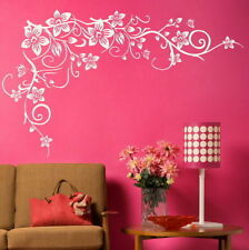 CORNER FLOWER WALL STICKER interior home floral transfers vinyl decal decor BV1