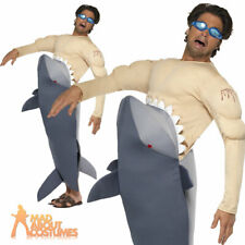 Man Eating Shark Costume + Goggles Jaws Attack Stag Fancy Dress Outfit New