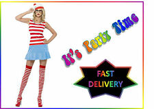 Ladies Official Where's Wenda Fancy Dress Costume Outfit Where's Wally Party