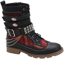 NEW Womens Plaid Military Punk Boots w/ Chains, Studs Spikes & Buckles Size 6-11