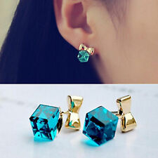 Fashion Lady Girls Gold Bowknot Cube Crystal Stone Party Earrings Cute Studs