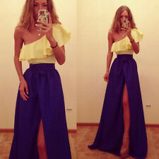 New Women One-shoulder Ballgown Evening Party Cocktail Side Slit Maxi Long Dress