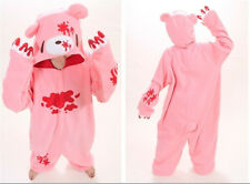 Cute Pink Bear Animal Pyjamas Jumpsuit Cosplay Costume Sleepwear