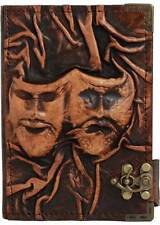 Happy Sad Drama Mask Refillable Leather Journal / Diary / Lock / Brown Notebook