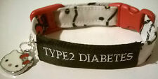 Diabetic alert bracelet KITTY with charm TYPE1 or TYPE 2 in 3 adjustable sizes