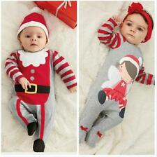 2Pcs Newborn Baby$Kids Boys Girls Christmas Clothes Romper Outfits Sets 0-24M