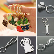 COOL MENS WOMENS WRENCH SPRING CLIP CAT PENDANT KEYRING METAL KEYCHAIN CUTE GIFT