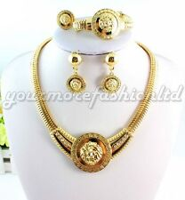 Vintage Lion Head Necklace Sets Gold Plated Crystal Jewelry Set (Q12)