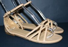 Gap NWT Womens 6 9 10 Taupe Patent Criss Cross Strappy Flat Buckle Sandals