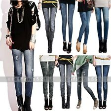 New Girl Frauen Multi Gemusterte Strumpfhosen Leggings Denim Jeans Skinny Pants