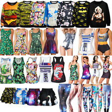 2014 New! Women's Digital Graphic Print Monokini Dress Tank Top Leggings Hoodies