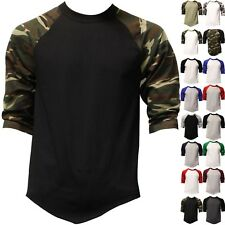 BaseBall T Shirts Raglan Jersey 3/4 Sleeve S-3XL Plain Tee Men's camo black navy