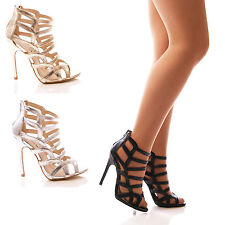 LADIES WOMENS HIGH HEEL STRAPPY PEEP TOE SANDALS PARTY EVENING SHOES SIZE