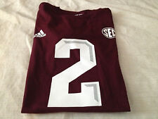 Men's Johnny Manziel TEXAS A & M AGGIES (#2) JERSEY STYLE LICENSED TSHIRT~defect