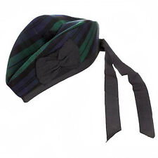 BlackWatch Glengarry Wool Hat Tartan with Black Pompom Kilt Accessory  52 / 62