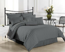 Hotel Collection 1000TC Brand New Fitted & Pillow Case Grey Striped 100% Cotton