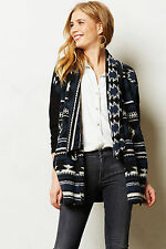 Anthropologie Santiam Cardigan Sz SP, Open Front Black Motif Graphic Cardi Dolan