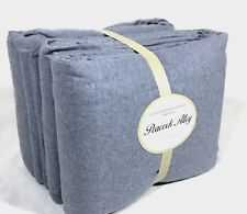 New PEACOCK ALLEY Thick Upcycled Cotton Flannel Sheet Set Blue Gray Queen King