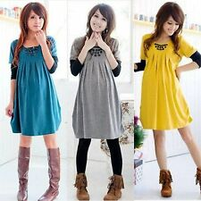 Fashion Pregnant Women Dresses Buttons Splice Long Sleeve Maternity A-lineDress