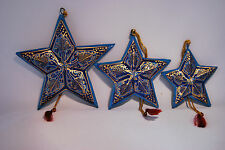 Christmas Decorations Gifts Set of 3 Stars  - Turquoise and Gold Paper Mache