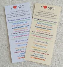 Wedding I Spy Game Camera Game Table Activity Favour Personalised Card