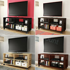 "Rolling 48"" TV Stand Media Console Cabinet Table Bookcase Entertainment Center"