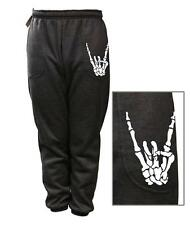 MEN WOMEN PRINT SKELETON FUNNY ROCK & ROLL FLEECE JOGGER DRAWSTRING SWEAT PANTS