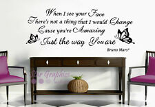 Bruno Mars Just The Way You Are Song Lyrics Wall Art Quote Vinyl Decal Sticker
