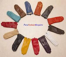 REAL LEATHER ladies gloves in 14 colors, S-XXL, Fleece lining, Cheapest on Ebay