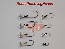 JIG HEADS Round Head  4/0 to #8  EAGLE CLAW HOOKS (10 pack) Plastic Shads Lrf