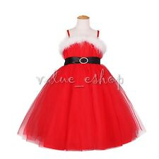 Red Christmas Santa Claus Costume Kids Girls Fancy Dress Xmas Outfit Tutu Skirt