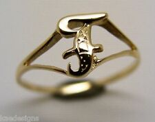 KAEDESIGNS, GENUINE, SOLID YELLOW OR ROSE OR WHITE GOLD 375 INITIAL RING F