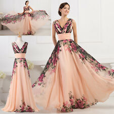 UK Vintage 1950s Style Long Chiffon Sexy V Neck Flower Pattern Prom Gown Dresses