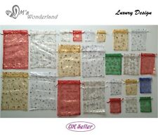 NEW 5/10 Luxury Xmas Pattern Organza Party Wedding Favor Gift Bag Jewelry Pouch