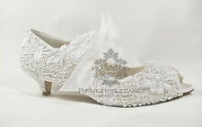 WOMENS NEW WHITE VINTAGE LACE PEARL PEEP TOE LOW MID HEEL SHOES BRIDAL WEDDING