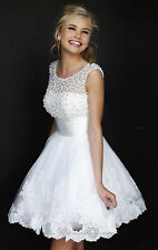 New Short Whie/Ivory Party Bridesmaid Wedding Cocktail Prom Ball Gown Prom Dress