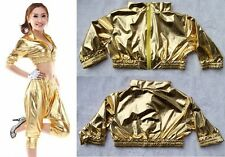 New Fashion Jazz Women Clothing sexy T-shirt Gold Hip Hop Dance Costume Tops